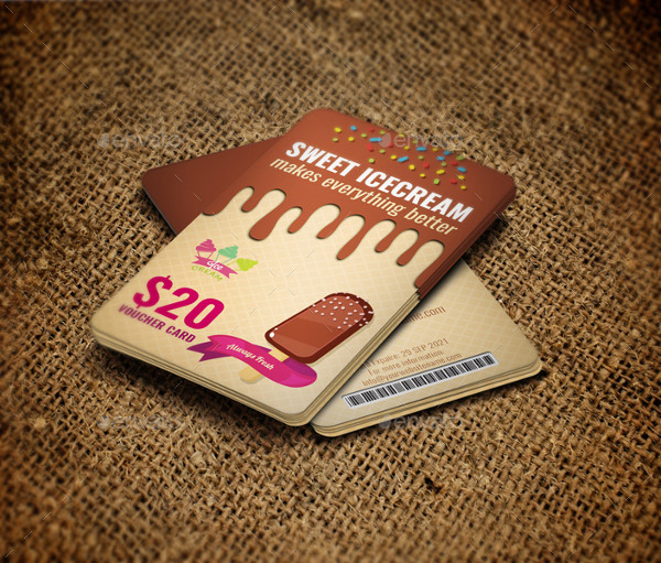 Ice Cream Voucher Gift Card Template
