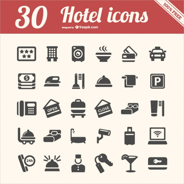 30 Free Hotel Icons Pack