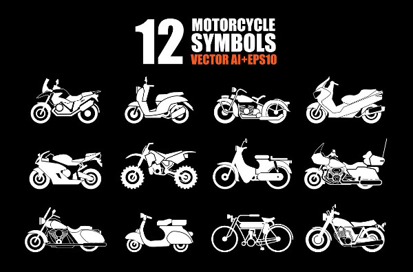12 Motorcycle Icon Set Vector Illustration