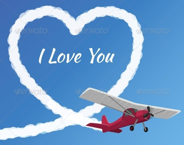 Airplane Drawing a Cloudy Love