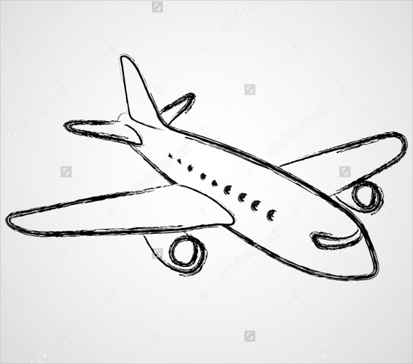 Airplane Simple Drawing