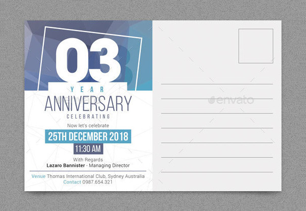 Anniversary Post Card Template