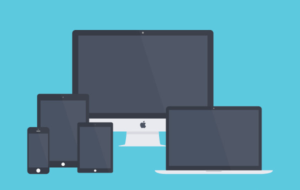 Flat Apple Devices Mockup Free PSD