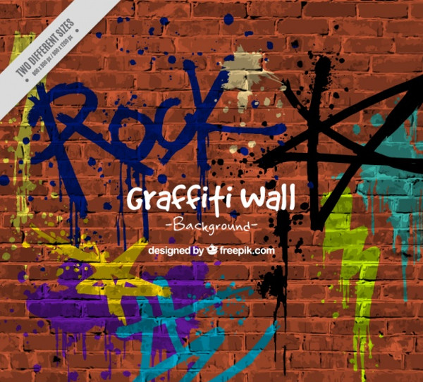 Background of Wall with Graffitis Free Vector