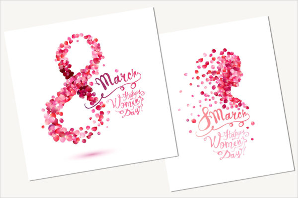Happy Women's Day Cards with Pink Rose Petals