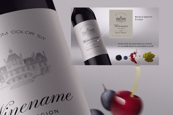 Best Wine Bottle and Label Mock-Up