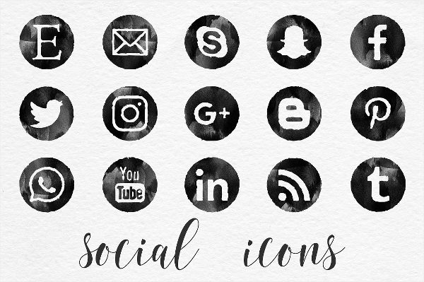 Black Watercolor Social Media Icons & Buttons