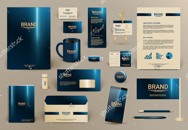 Blue Luxury Branding Design Kit