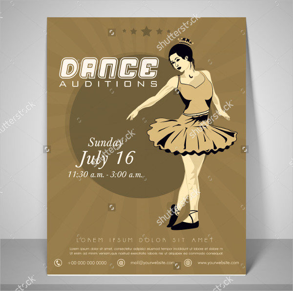 Retro Dance Audition Flyer Template