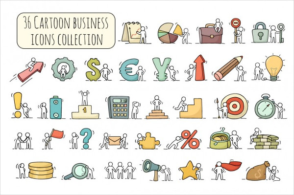 Cartoon Business Icon Set