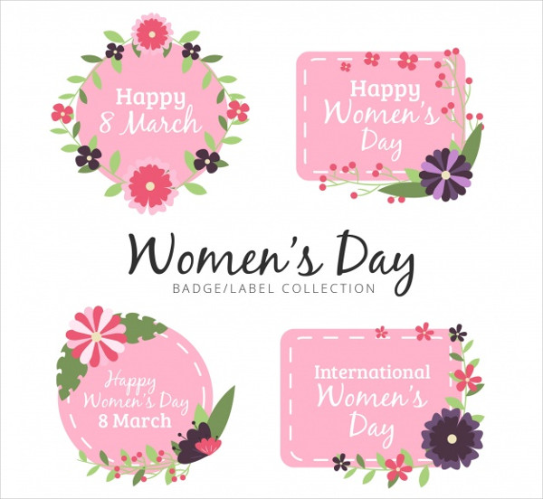 Collection of Women's Day Badges with Flowers Free Download