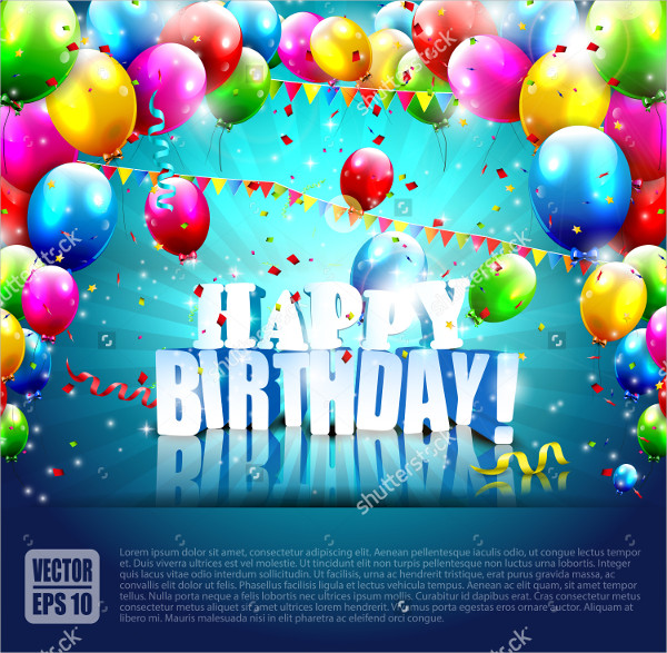 Realistic Birthday Party Poster Template