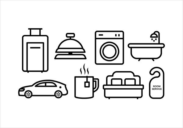 Free Hotel Room Service Icon Set