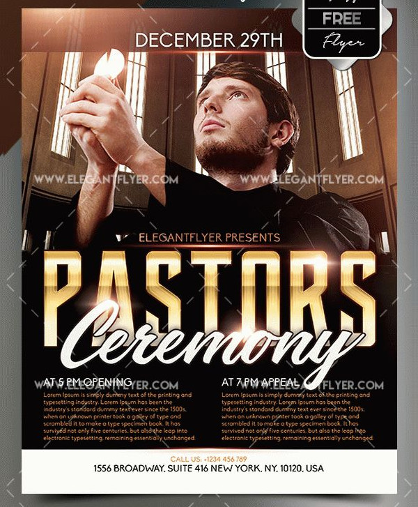 Free Pastors Ceremony Flyer Template
