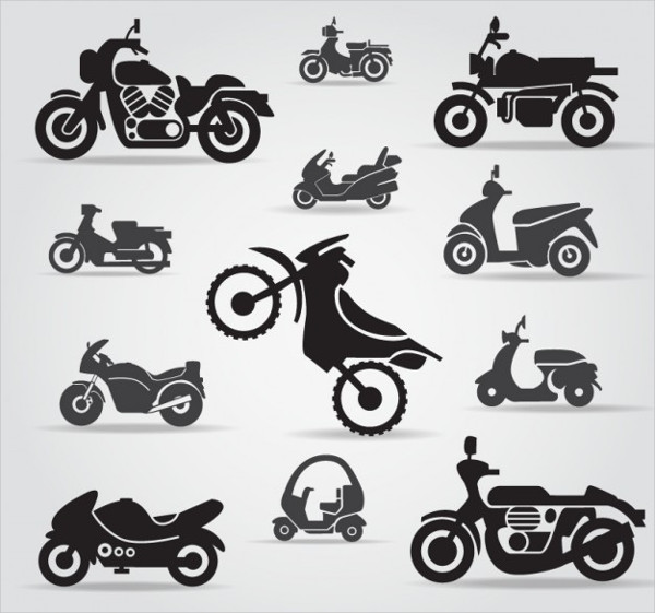 Free Vector Motorcycle Icon Pack