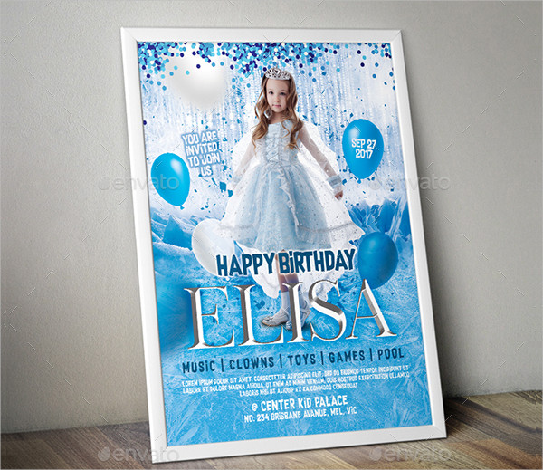 Frozen Birthday Invitation Poster Template
