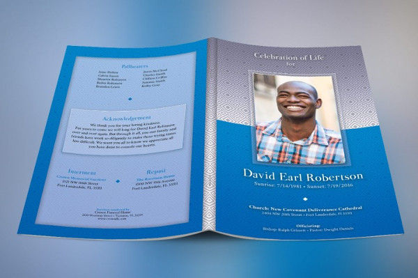 Funeral Program Photoshop Template
