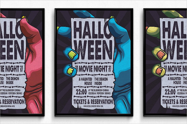 Halloween Movie Night Poster Template
