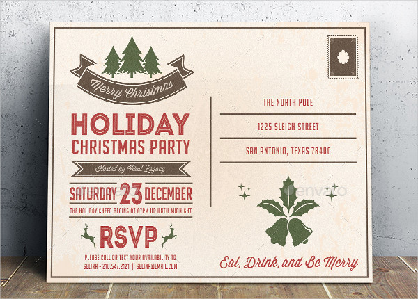 Holiday Christmas Party Postcard Template