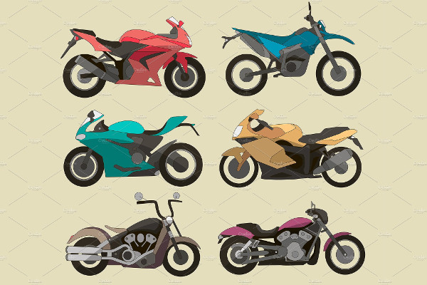Flat Design Motorcycle Icon Set
