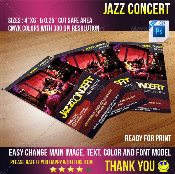 Ready for Print Jazz Concert Auditions Flyer Template