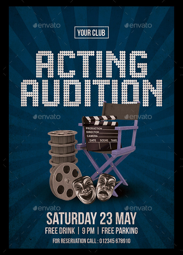 Modern Acting Audition Flyer Template