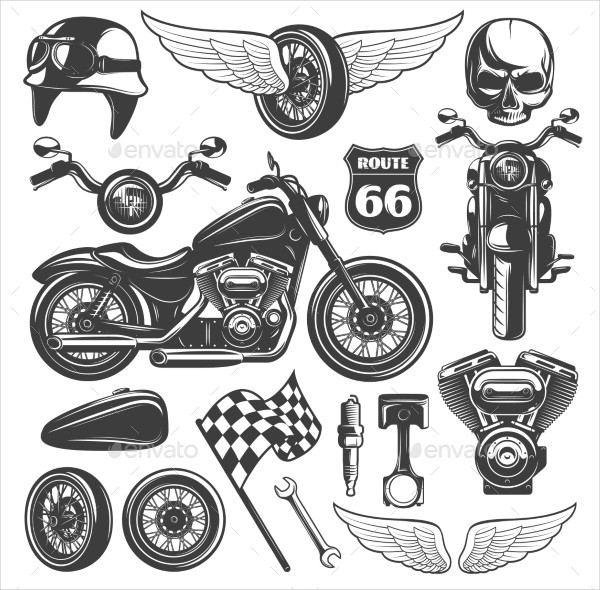 Motorcycle Black Isolated Icon Set