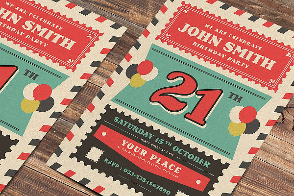 Old Retro Airmail Birthday Party Poster Template