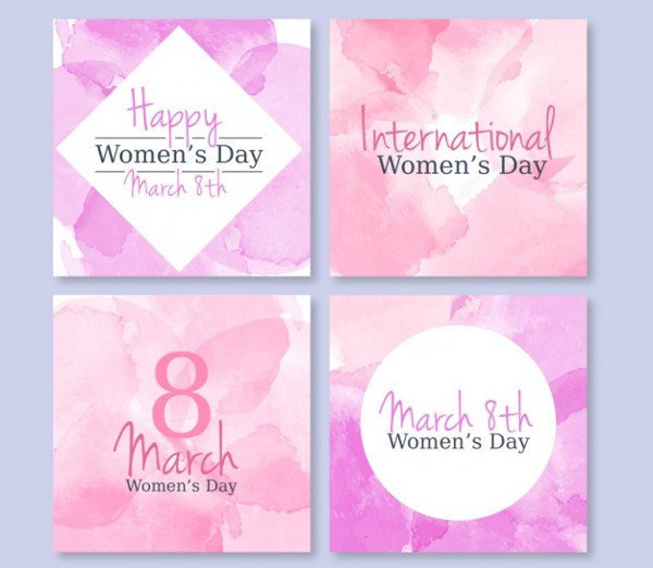 Pack Watercolor Women's Day Greeting Cards Free