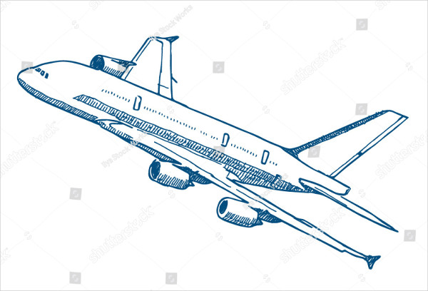 Passenger Airplane Vector Drawing