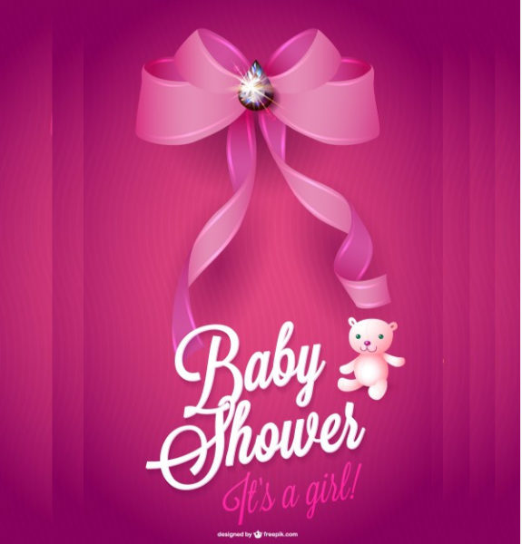 Baby Shower Card for a Girl with Pink Ribbon Free
