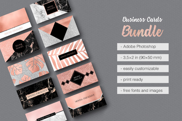 Rose Gold Marble Visiting Cards Bundle