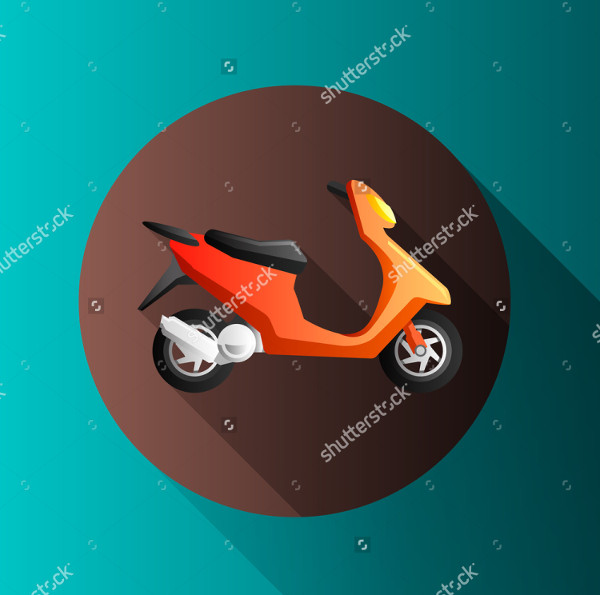 Flat Design Motorcycle Icon