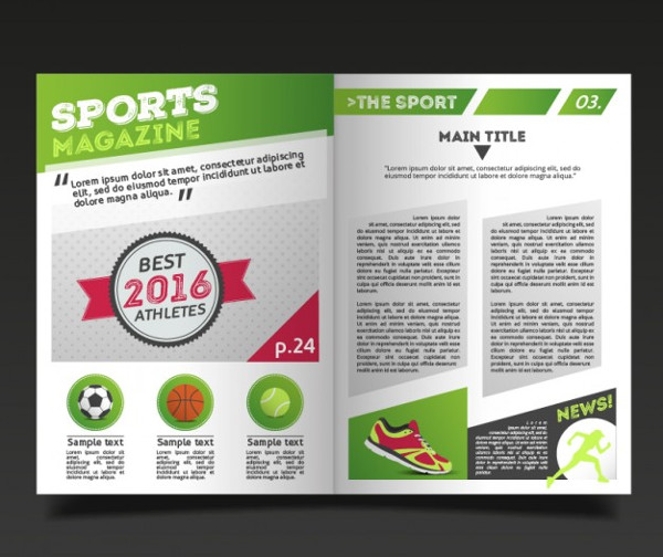 Sport Magazine Template with Report Free Vector