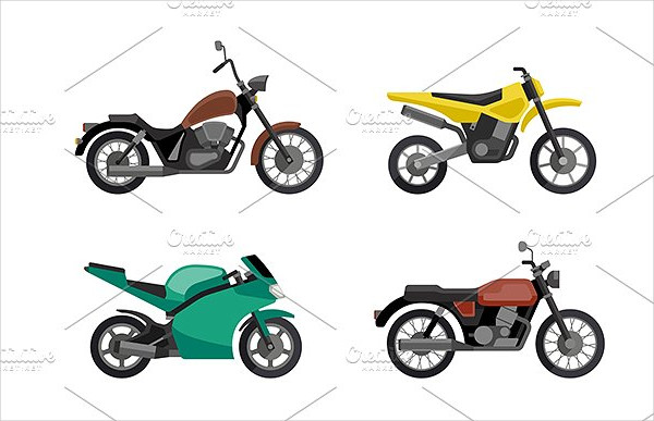Motorcycle Icon Set in Flat Style