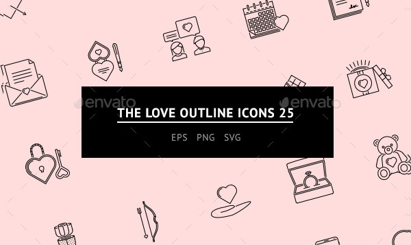 Unique Love Outline Icons