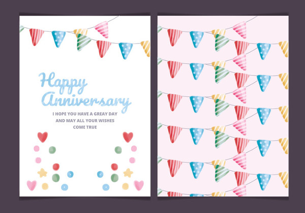 Vector Colorful Anniversary Card Template