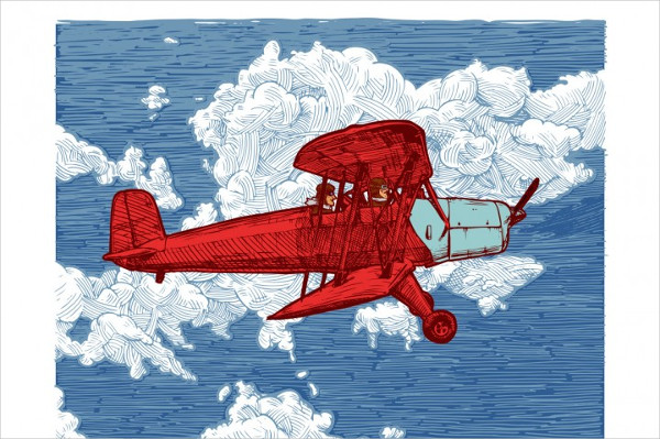 Vector Drawing of Airplane