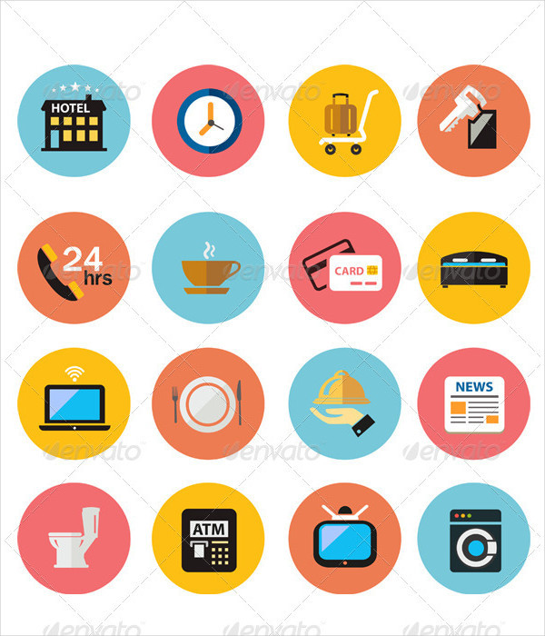 Flat Hotel Vector Icons Set