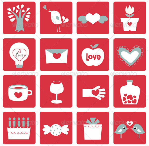 Vector Illustration of Love Icons