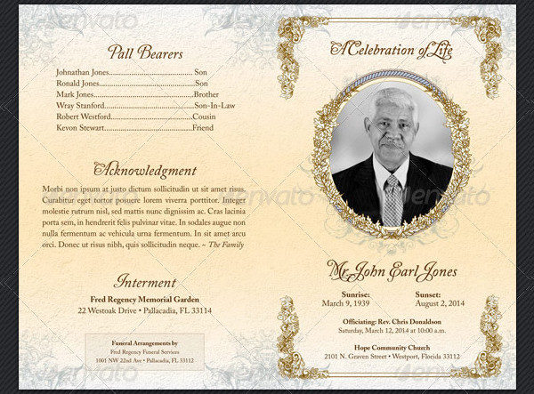 25 Funeral Program Templates Free PSD AI EPS Format Download – Funeral Templates