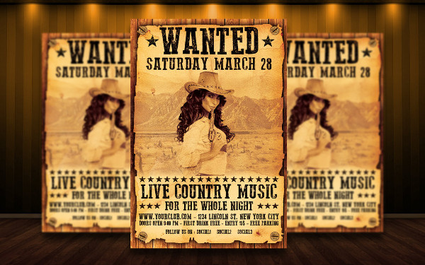 Country or Wanted Flyer Template