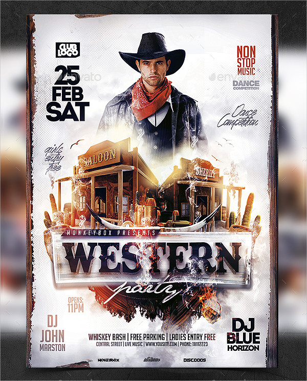 Western Night Party Flyer Template