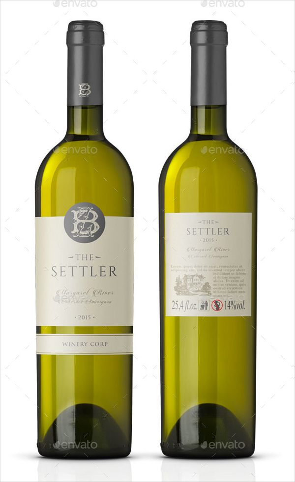 White Wine Label Vector Template