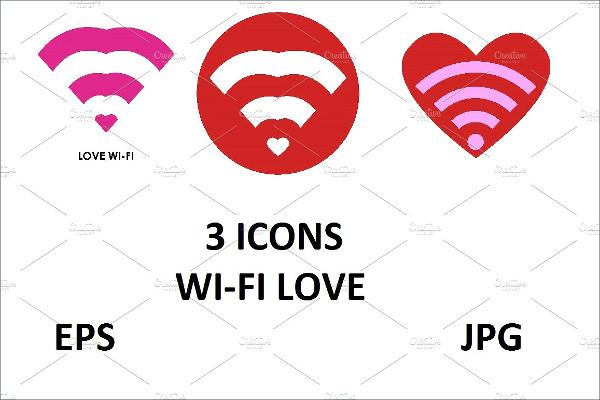 3 Cute WI-FI Love Icons