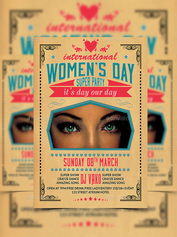 Retro Women's Day Party Flyer Template
