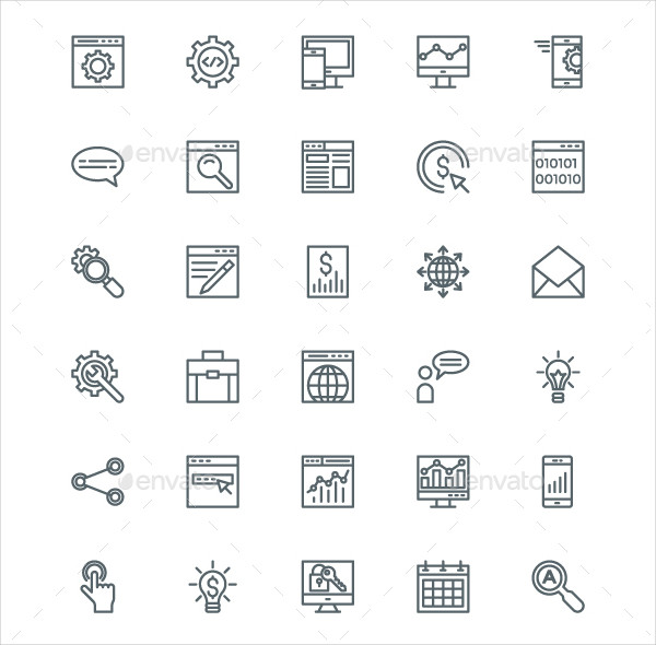 220 SEO and Digital Marketing Line Icons