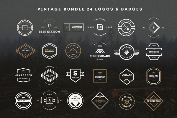 24 Vintage Logos & Badges Bundle