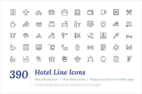 390 Hotel Line Icons