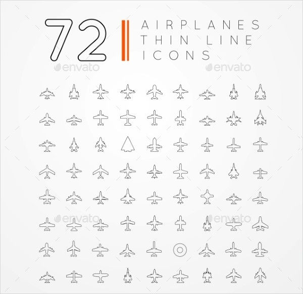 72 Thin Line Airplane Icons